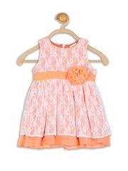 Baby League Infant Girls Orange Lace Fit & Flare Dress