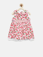 Baby League Girls White & Red Strawberry Print Fit & Flare Dress