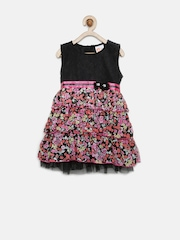 Baby League Girls Black & Pink Floral Print Lace Layered Dress