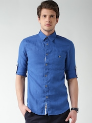 Celio Blue Linen Casual Shirt