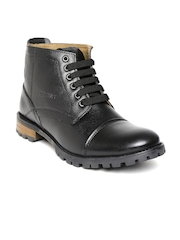 Red Chief Men Black Genuine Leather Boots
