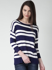 Moda Rapido Navy & White Striped Top