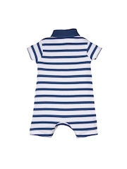 mothercare Boys Navy & White Striped Romper