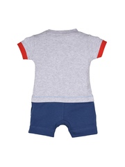 mothercare Boys Grey & Blue Printed Romper