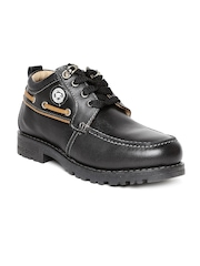 Red Chief Men Black Leather Casual Shoes