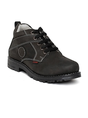 Red Chief Men Charcoal Grey Genuine Leather Casual Shoes