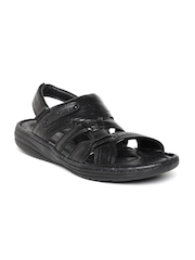 Red Chief Men Black Leather Sandals