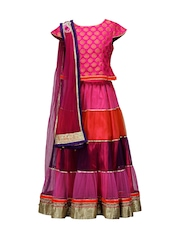 Peaches Girls Pink Lehenga Choli with Dupatta