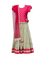 Peaches Girls Pink & Off-White Lehenga Choli with Dupatta