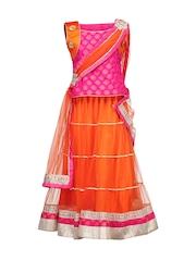 Peaches Girls Pink & Orange Lehenga Choli with Dupatta