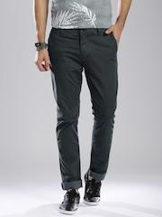 Breakbounce Grey Printed Street Smart Slim Chino Trousers