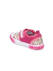 Kittens Girls White & Pink Printed Casual Shoes