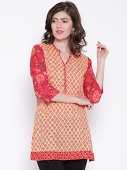 BIBA Yellow & Red Printed Kurti