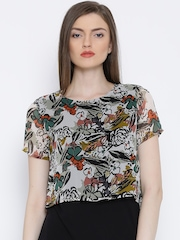 United Colors of Benetton Off-White & Black Floral Print Layered Top