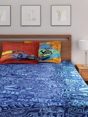 Portico New York Hot Wheels Boys Blue Cotton Double Bedsheet with 2 Pillow Covers