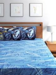 Portico New York Batman Boys Blue Cotton 210 TC Double Bedsheet with 2 Pillow Covers