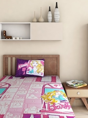 Portico New York Pink & Purple Cotton Single Bedsheet with 1 Pillow Cover
