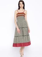 Shree Cream-Coloured & Black Printed Fit & Flare Midi Dress
