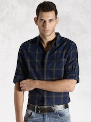 Roadster Navy & Olive Green Checked Casual Shirt