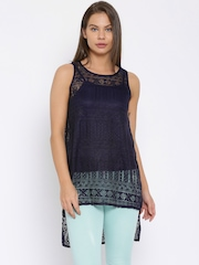 Deal Jeans Navy Sleeveless Lace Top