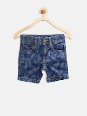 United Colors of Benetton Boys Blue Pixel Pattern Shorts