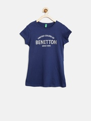 United Colors of Benetton Girls Navy Embroidered T-shirt