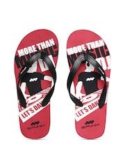 Spunk Men Black & Red Textured Printed Flip-Flops