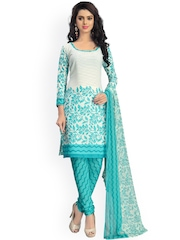 Vaamsi White & Turquoise Blue Printed Crepe Unstitched Dress Material