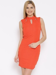 Vero Moda Orange Textured Sheath Dress