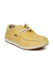 Woodland Men Yellow Leather Casual Shoes
