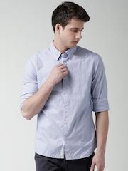 Celio Blue Striped Slim Fit Casual Shirt