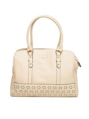 Lavie Beige Cut-Work Handbag