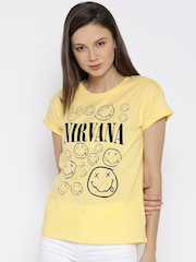 Nirvana Yellow Printed T-shirt