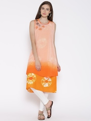 BIBA Orange Polyester Printed A-Line Kurta