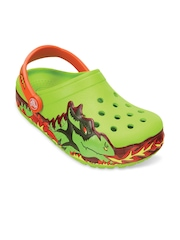Crocs Boys Green Printed Clogs with LED Lights