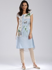 W White & Blue Polyester Printed Kurta