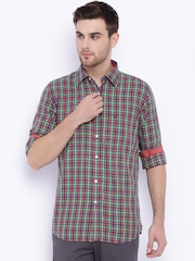 Allen Solly Red & Green Checked Sport Fit Casual Shirt