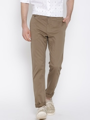Allen Solly Brown Comfort Fit Casual Trousers