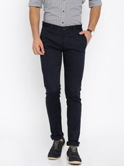 Allen Solly Men Navy Blue Solid Slim Fit Flat-Front Trousers