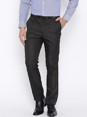 Arrow Dark Brown Polyester Tapered Formal Trousers