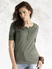 Roadster Grey & Green Striped Top