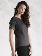 Roadster Charcoal Grey Washed Lace Top