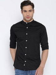 United Colors of Benetton Black Self-Striped Casual Shirt