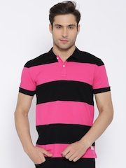 United Colors of Benetton Pink Striped Polo T-shirt