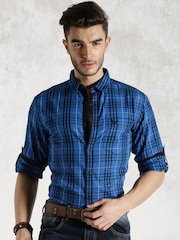 Roadster Blue Checked Casual Shirt