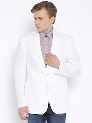 Park Avenue White Linen Single-Breasted Slim Blazer