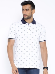 Park Avenue White Printed Polo T-shirt