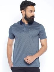 Park Avenue Blue Printed Polo T-shirt