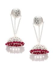 Fabindia Silver Jhumka Earrings with Pink Beads