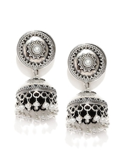 Fabindia Oxidised Silver Jhumka Earrings with Off-White Beads
